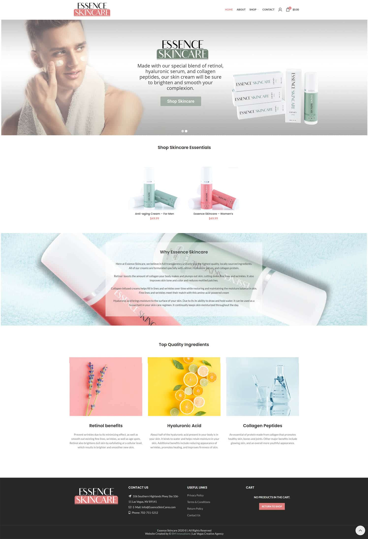 Essence Skincare Homepage