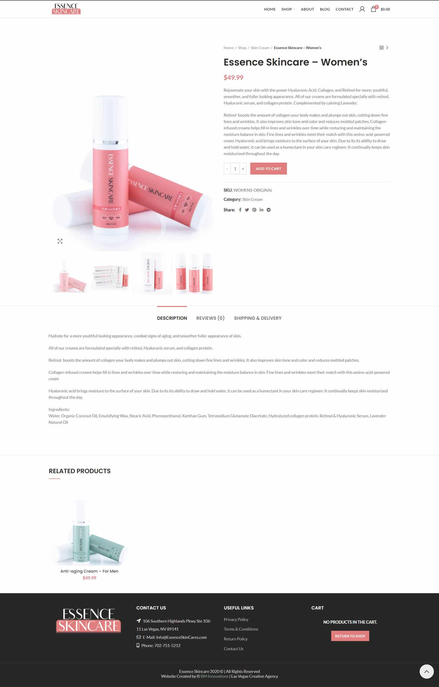 Essence Skincare Product Page
