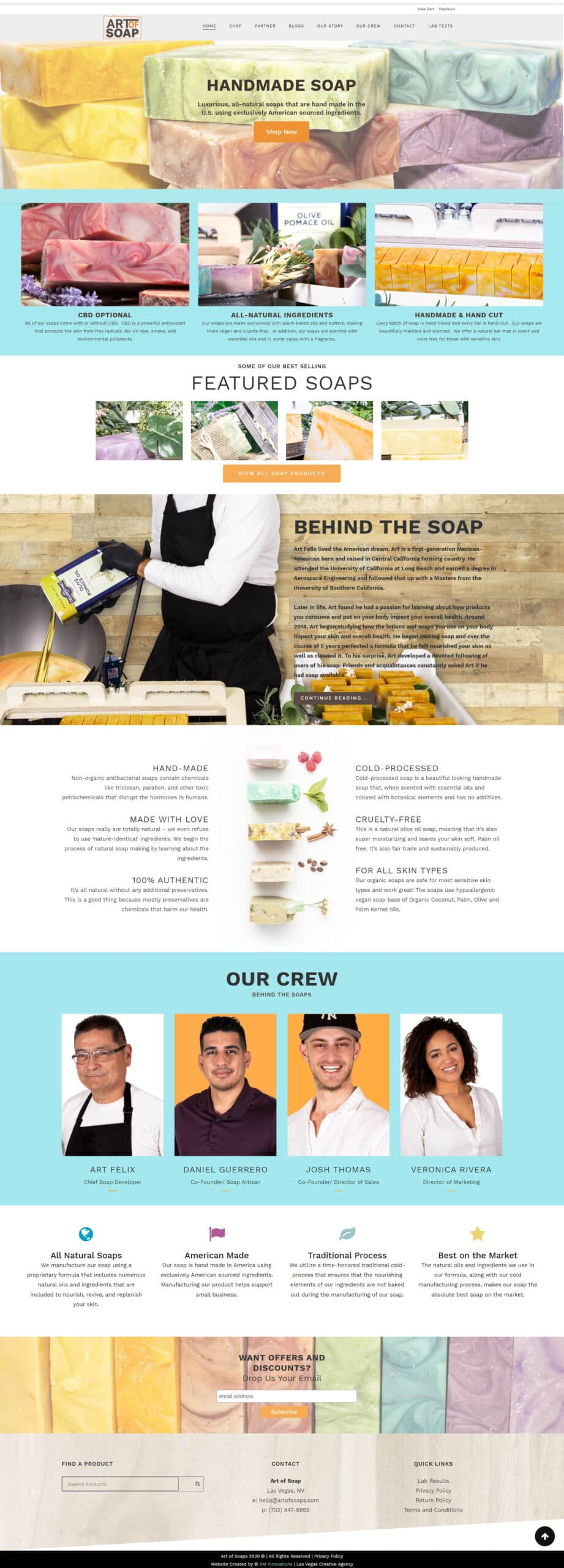The art of soap homepage